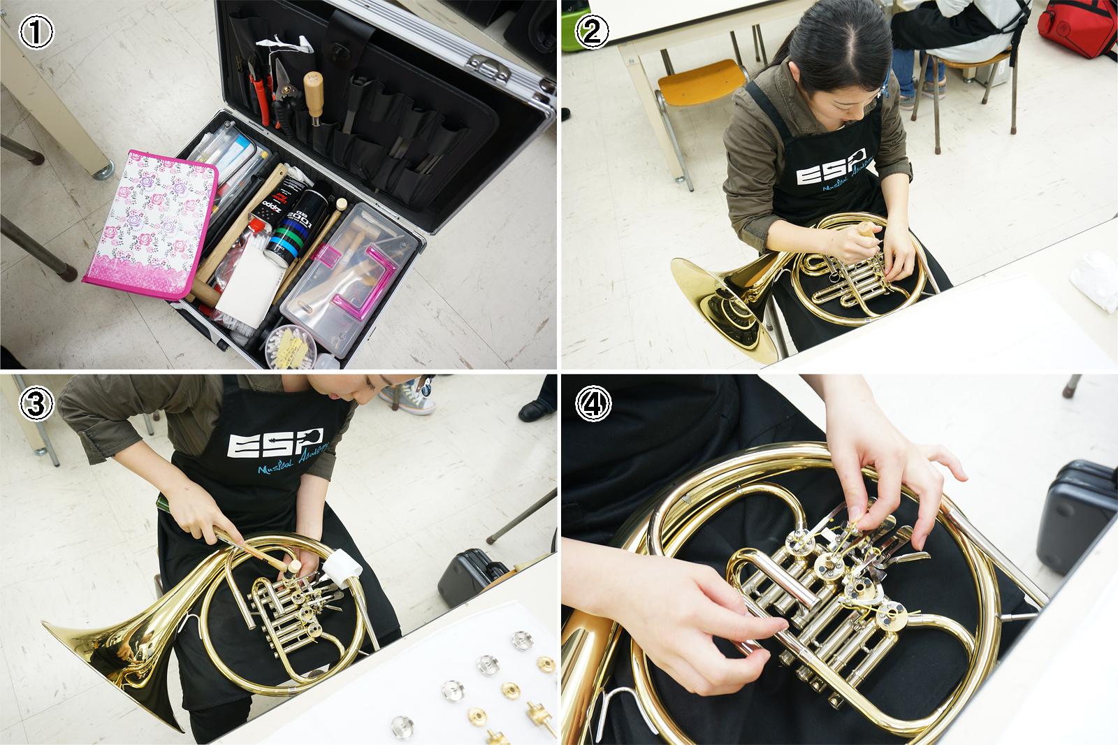実習風景(高橋亜須香さん)|ESPミュージカルアカデミー管楽器リペア科