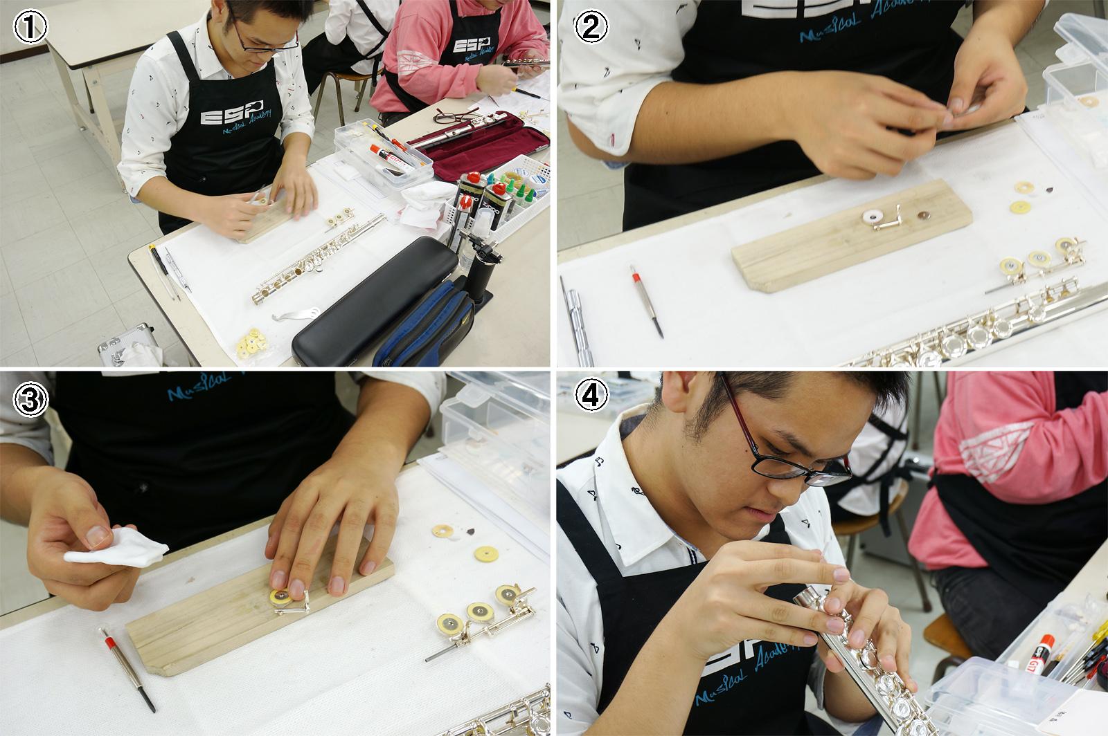 実習風景(猪羽晶君)|ESPミュージカルアカデミー管楽器リペア科