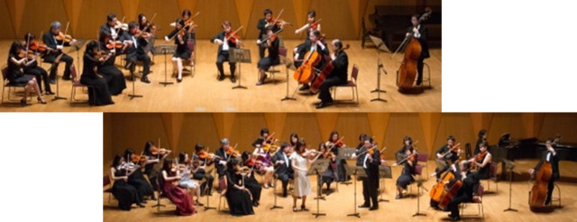 バイオリン、ビオラ、チェロ、コントラバスによる弦楽合奏。宮地楽器新宿。