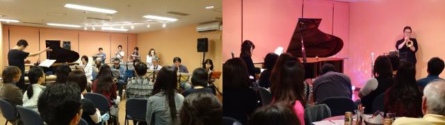 スタジオのライブ。新宿でバイオリン・ビオラ・チェロの弦楽アンサンブル。