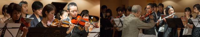 表参道のパウゼで演奏。弦楽アンサンブル。バイオリン・ビオラ・チェロの合奏。