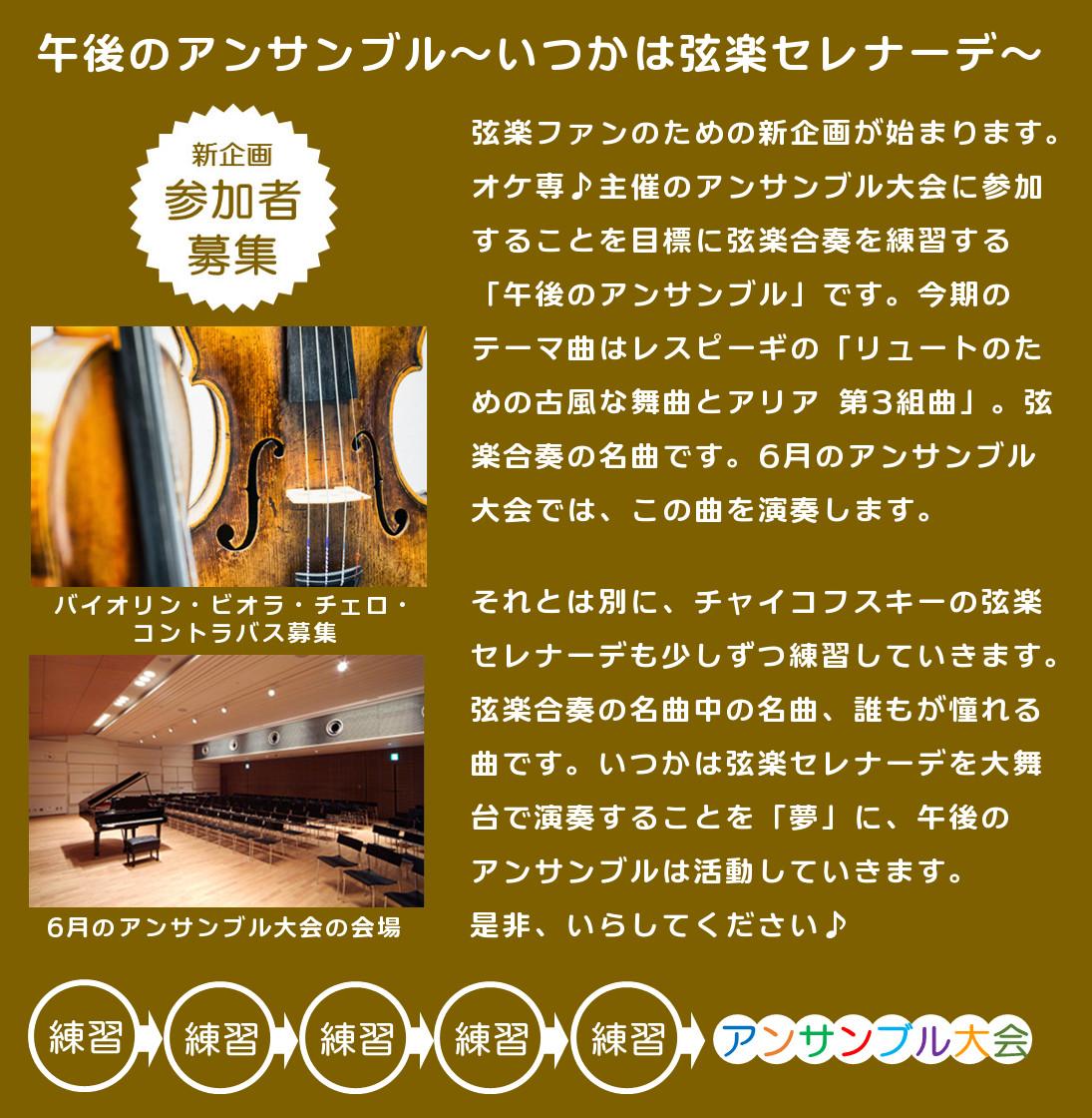 午後のアンサンブル ~いつかは弦楽セレナーデ~ 弦楽合奏の名曲を演奏しよう!&アンサンブル大会に参加♪