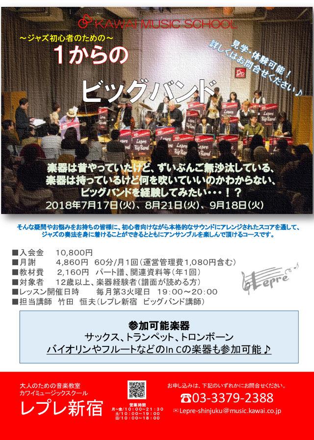 新宿で3か月で1回セットの「1からのビッグバンド」がスタート!参加者募集♪
